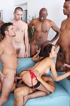 Belle Claire - interracial gang bang