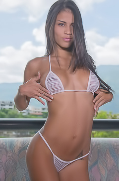 Denisse Gomez Stripping Off Tight Bikini