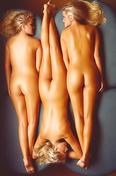 Three girls relaxing in sauna