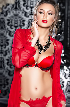 Sexy Deanna Greene in red lingerie