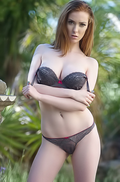 Amateur redhead outdoors