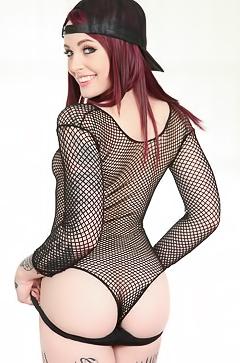 Chloe Carter in black fishnet