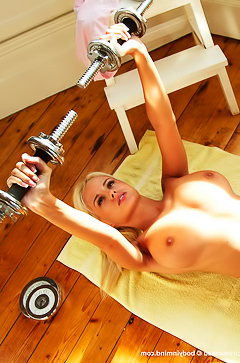 Blond Rhian Sugden working out