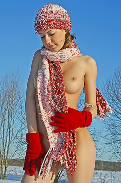 Russian teen is nude in winter