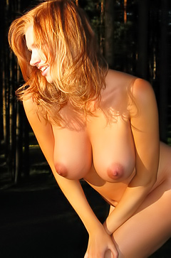 Busty Maria in forest