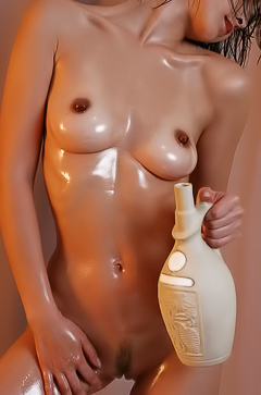 Thai girl is covered with oil
