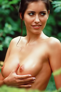 Sexy girl Lyann is naked in forest