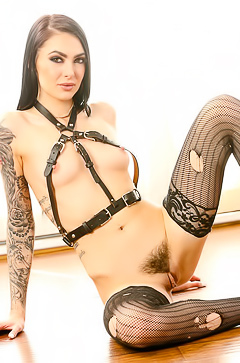 Hot slut in fishnet stockings
