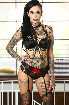 Hot bitch is covered with tattoos
