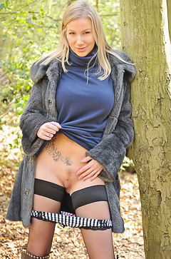 Danielle in sexy black stockings