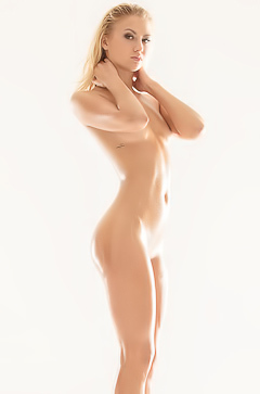 Oiled body of hot blonde