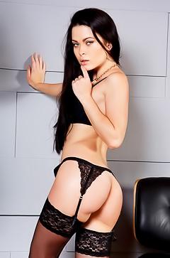 Licona posing in black stockings