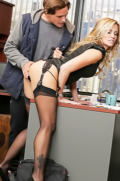 Jessica Drake gets licked in office
