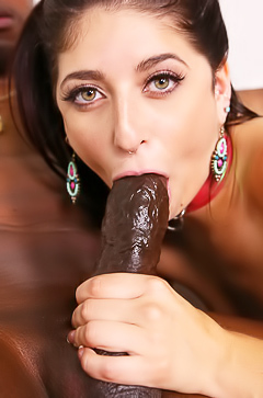 Nikki Knightly is sucking a huge black dick