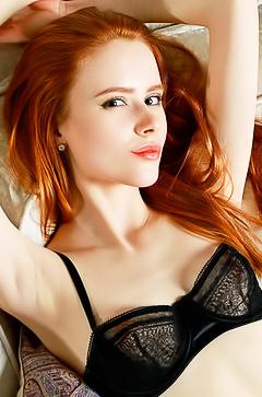 Skinny redhead beauty Bella Milano