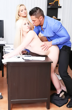 3some porn in office with blond Anna Ray