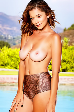 Stunning Ali Rose is stripping by the pool