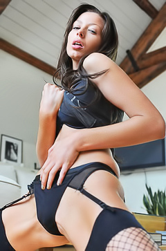 Cute asian babe in stockings