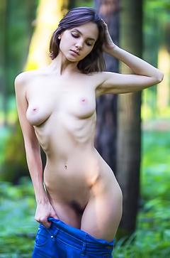 Lara Maiser - skinny brunette in the forest