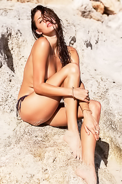 Alyssa Arce - topless on the sand