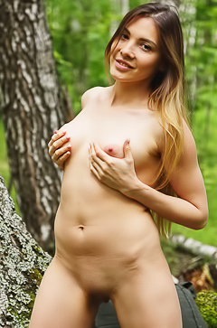 Nude forest walk with Kira T