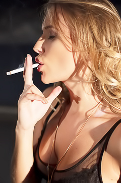 Hot blond Aislin smoking