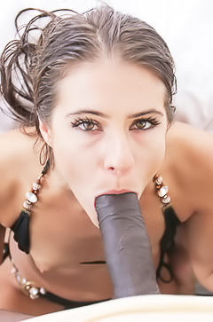 Slim Tara Ashley is sucking big black dick