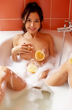 Young asian Sakura in the bath