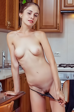 Maria Espen Getting out of her tiny g-string in her kitchen